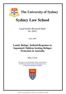 lonely refuge: judicial responses to separated children ... - SSRN papers