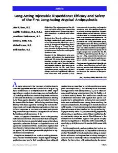 Long-Acting Injectable Risperidone: Efficacy and Safety of the First ...