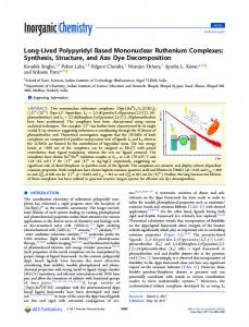 Long-Lived Polypyridyl Based Mononuclear Ruthenium Complexes ...