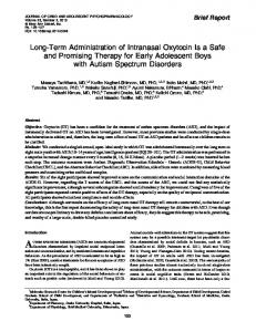 Long-Term Administration of Intranasal Oxytocin Is a Safe and ...