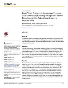 Long-Term Changes in Intraocular Pressure after Vitrectomy for