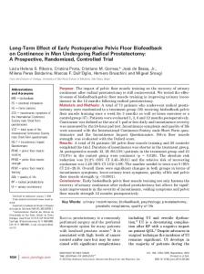 Long-Term Effect of Early Postoperative Pelvic Floor ... - PelvicRx