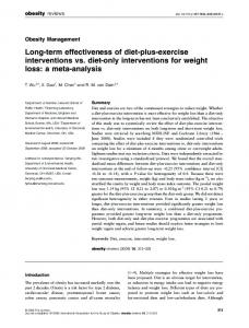 Long-term effectiveness of diet-plus-exercise interventions vs. diet ...