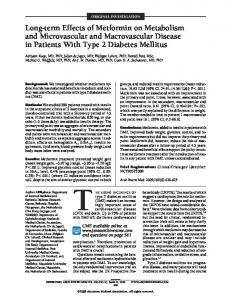 Long-term Effects of Metformin on Metabolism and Microvascular and ...