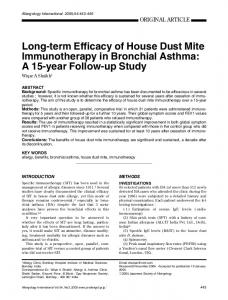 Long-term Efficacy of House Dust Mite Immunotherapy in Bronchial ...