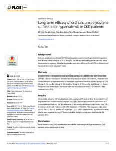 Long-term efficacy of oral calcium polystyrene sulfonate for ... - PLOS