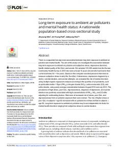 Long-term exposure to ambient air pollutants and mental ... - PLOS
