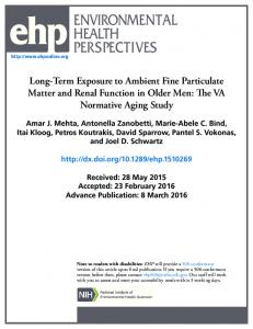Long-Term Exposure to Ambient Fine Particulate Matter and Renal ...