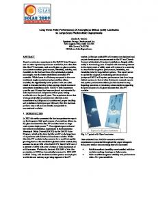 Long Term Field Performance of Amorphous Silicon