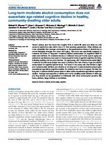 Long-term moderate alcohol consumption does not ... - Frontiers