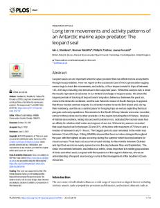 Long term movements and activity patterns of an Antarctic ... - PLOS