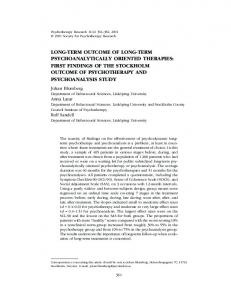 long-term outcome of long-term psychoanalytically ... - SAFRAN LAB