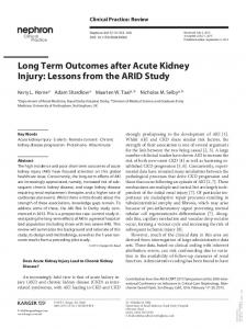 Long Term Outcomes after Acute Kidney Injury ...