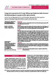 Long-term outcomes of a 5-year follow up of patients with immune ...
