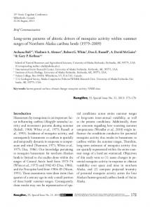 Long-term patterns of abiotic drivers of mosquito activity ... - CiteSeerX