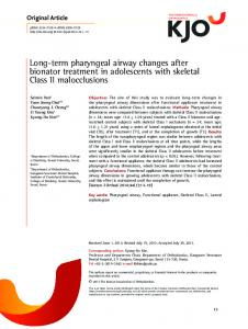 Long-term pharyngeal airway changes after ... - KoreaMed Synapse