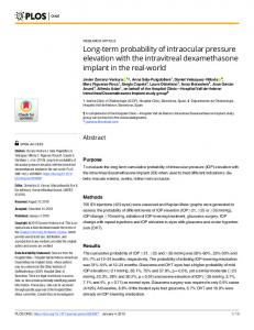 Long-term probability of intraocular pressure elevation with the ... - PLOS