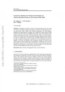 Long-term Spatial and Temporal Variations of Aurora Borealis Events ...