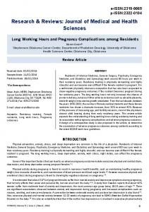 Long Working Hours and Pregnancy Complications among Residents