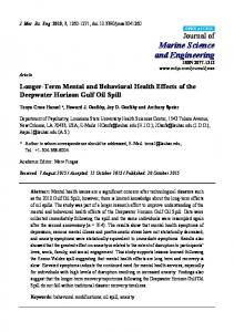 Longer-Term Mental and Behavioral Health Effects of the Deepwater ...