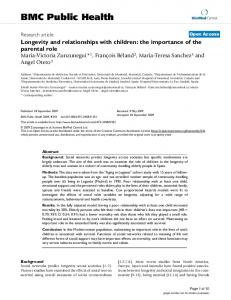 Longevity and relationships with children: the importance of the ...