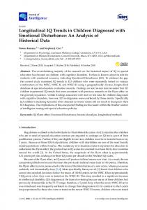 Longitudinal IQ Trends in Children Diagnosed with Emotional ... - MDPI