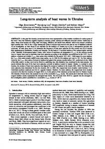 Longterm analysis of heat waves in Ukraine - Wiley Online Library