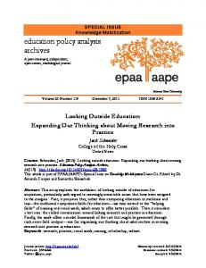 Looking Outside Education: Expanding Our Thinking about Moving ...