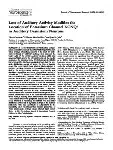 Loss of Auditory Activity Modifies the Location of ... - Wiley Online Library