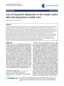 Loss of long-term depression in the insular cortex ...