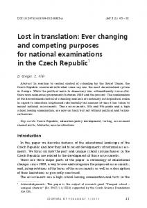Lost in translation: Ever changing and competing ... - ProQuest Search