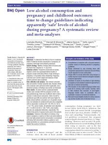 Low alcohol consumption and pregnancy and