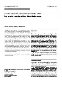 Low anterior resection without defunctioning stoma - Springer Link