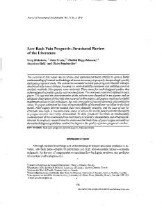 Low Back Pain Prognosis: Structured Review of ... - CBI Health Group