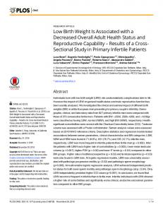Low Birth Weight Is Associated with a Decreased