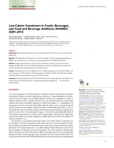 Low-Calorie Sweeteners in Foods, Beverages, and Food and