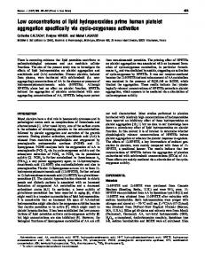 Low concentrations of lipid hydroperoxides prime human platelet ...