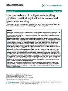 Low concordance of multiple variant-calling pipelines: practical ...
