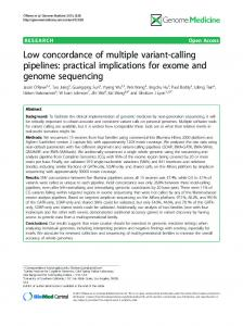 Low concordance of multiple variant-calling pipelines - Genome ...