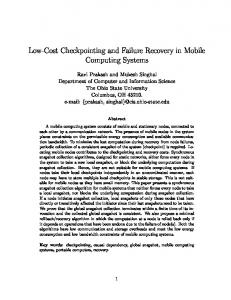 Low-Cost Checkpointing and Failure Recovery in ... - Semantic Scholar