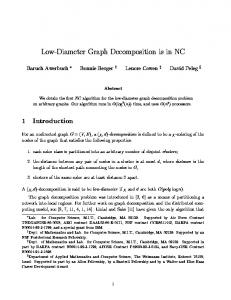 Low-Diameter Graph Decomposition is in NC - Tufts Computer Science