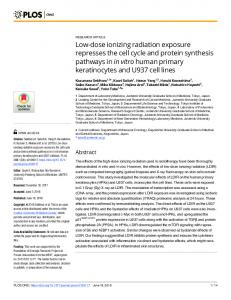 Low-dose ionizing radiation exposure represses the cell cycle ... - PLOS