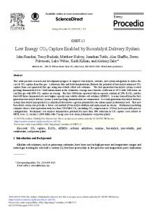Low Energy CO2 Capture Enabled by Biocatalyst ... - ScienceDirect