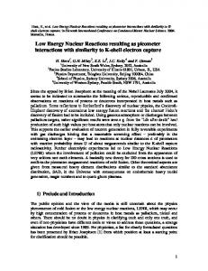 Low Energy Nuclear Reactions resulting as
