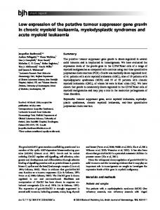 Low expression of the putative tumour ... - Wiley Online Library