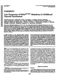 Low Frequency of BRAF T1796A Mutations in Childhood Thyroid ...