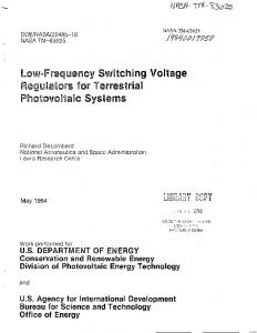 Low-Frequency Switching Voltage Regulators for Terrestrial ...