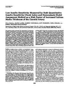 Low Insulin Sensitivity Measured by Both Quantitative Insulin ...
