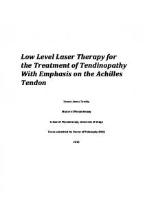 Low Level Laser Therapy for the Treatment of ... - OUR Archive