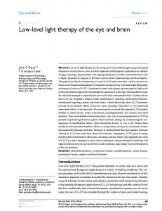 Low Level Light Therapy Of The Eye And Brain College Syntonic